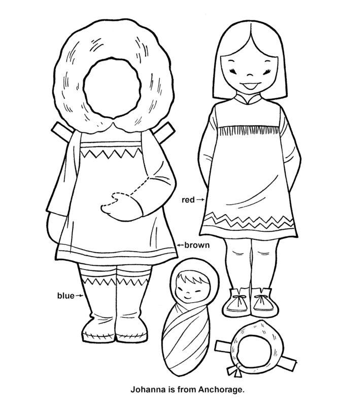 BlueBonkers - Youth Activity Sheets - Paper Dolls - Alaska Girl