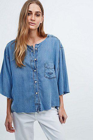 Urban Renewal Vintage Customised - Chemise sans col en jean - Urban Outfitters