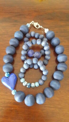 Navy dyed wooden beads with blue handmade heart necklace and bracelet