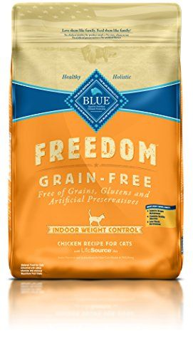 BLUE Freedom Adult Indoor Weight Control Grain Free Chicken Dry Cat Food 11-lb. - Cats love to dine on our natural holistic cat food and it provides essential amino acids and vital nutrients they need every day. Wholesome whole grains: hearty whole grains like brown rice, Barley and Oats will keep your cat supplied with the complex carbohydrates needed for energy. Healthy gard...