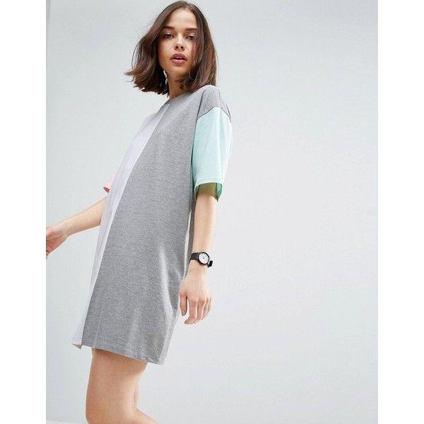 ASOS Colour Block Mini Dress ($32) ❤ liked on Polyvore featuring dresses, multi, colorblock dresses, short sleeve dress, mini prom dresses, short dresses and mini party dresses