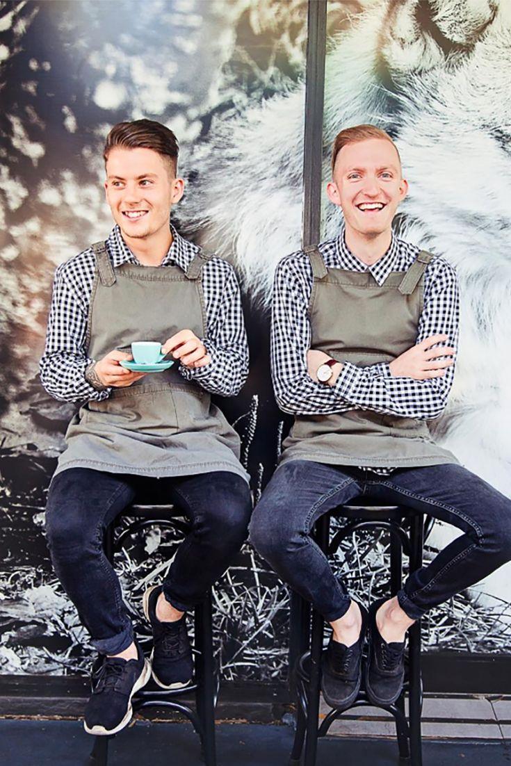 Wolfe & Co. Restaurant Dural, NSW, Australia   Waiters uniforms by Cargo Crew   Khaki Tokyo Apron with Max Check Shirt.