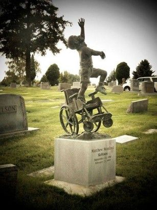 "A father designs a headstone for his wheelchair-bound son depicting him ""free of his earthly burdens."" #art #sculpture"