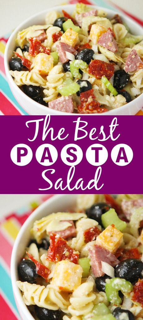 The BEST Pasta Salad you will ever eat! Seriously. My sister gave me this recipe and I make it all the time. It is a super crowd pleaser!