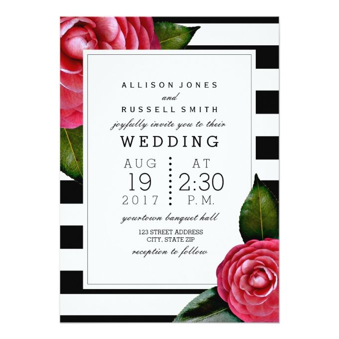Pink Roses Floral Black + White Stripe Wedding Card
