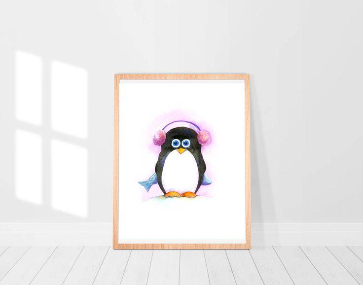Baby Penguin & fish Watercolor Art Print Winter illustration Christmas gift Nursery animals art prints Printable wall art Digital Print