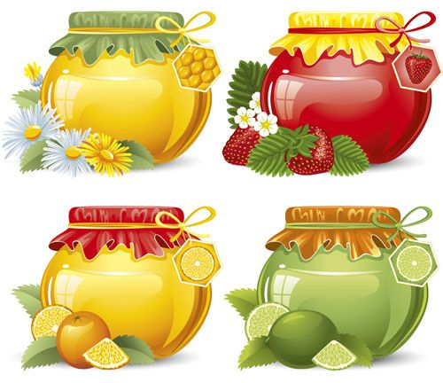 Elements of Honey and Bees vector set 05