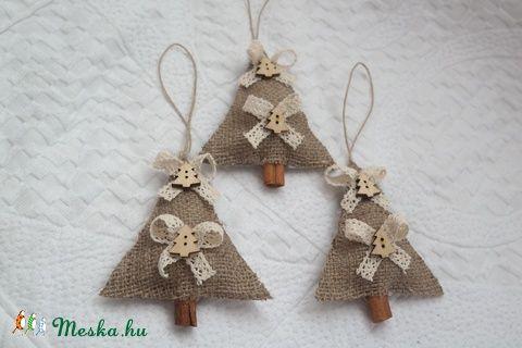 Karácsonyi vintage fenyő díszek_natúr_csipke (Aggies) - Meska.hu