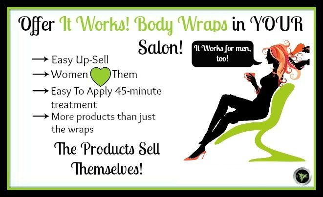 Are you a salon owner or stylist? Don't wait for the salon or shop down the street to start providing the hottest body contouring product on the market...the It Works Ultimate Body Applicator...AKA that CrAzY WrAp ThInG!. Ask me how YOUR salon or shop can be the FIRST to market this amazing product!