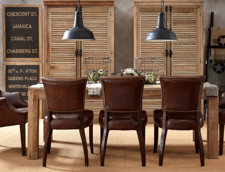 4 Masculine Dining Room Leather Chairs