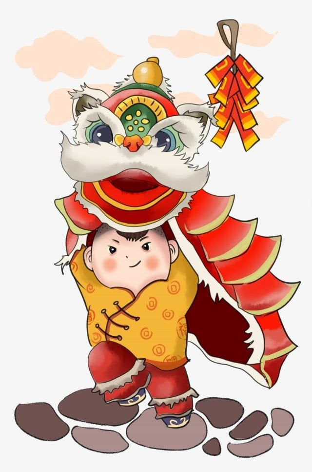 New Year Character Illustration Red Firecrackers Red Lion Dance Brown Rope Little Girl Dancing Lion Cartoon Character Illustration Png Transparent Clipart Im In 2021 Character Illustration Lion Dance Chinese Lion Dance