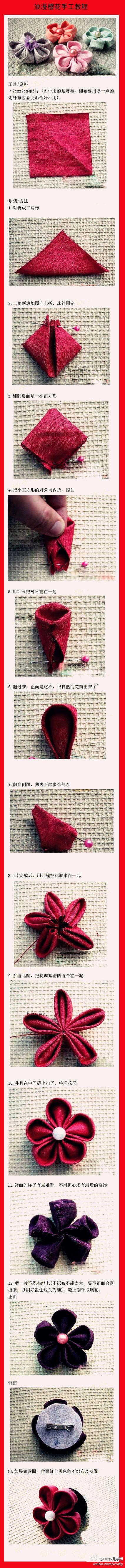 Fabric cherry blossom tutorial