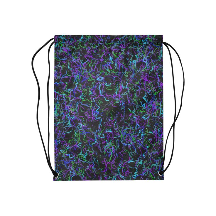 Neon purple, blue, green and black 4745 Medium Drawstring Bag by Khoncepts