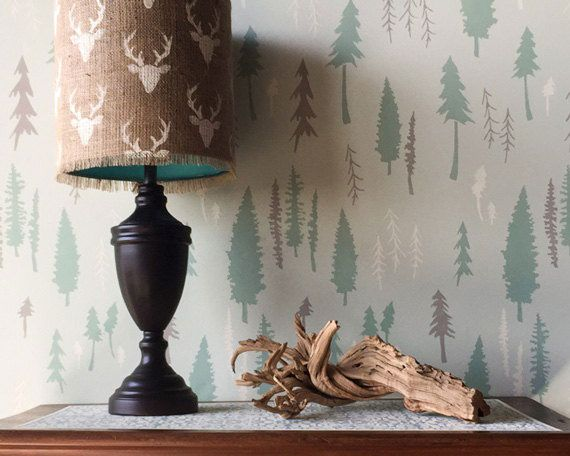 Image result for blue spruce tree wall stencil