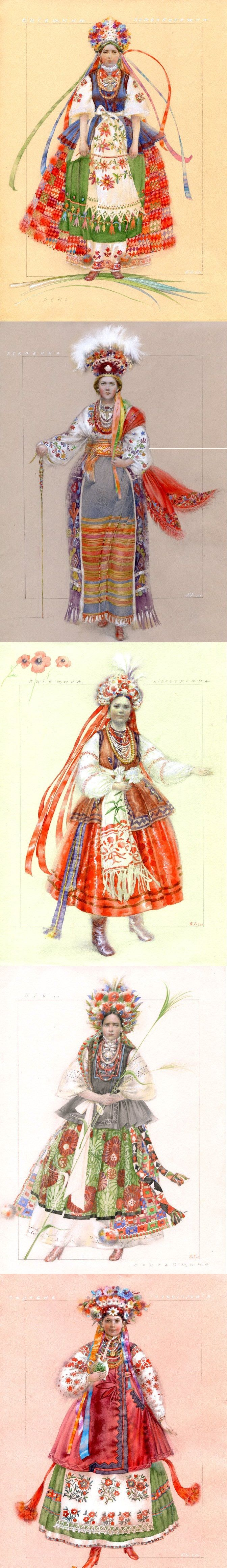 Variations of Ukrainian bridal costumes. www.cobblestonefreeway.ca