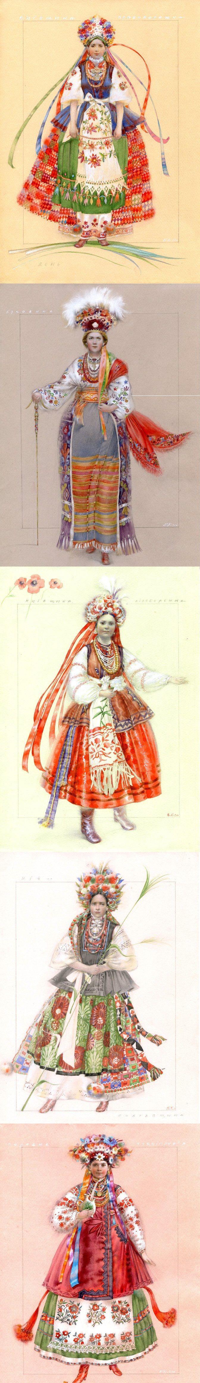 Variations of Ukrainian bridal costumes. #cobblestonefreeway #culturetours #culture #adventuretours #ukrainianculture #traveltoukraine #travelinspiration #ukiefashion www.cobblestonefreeway.ca