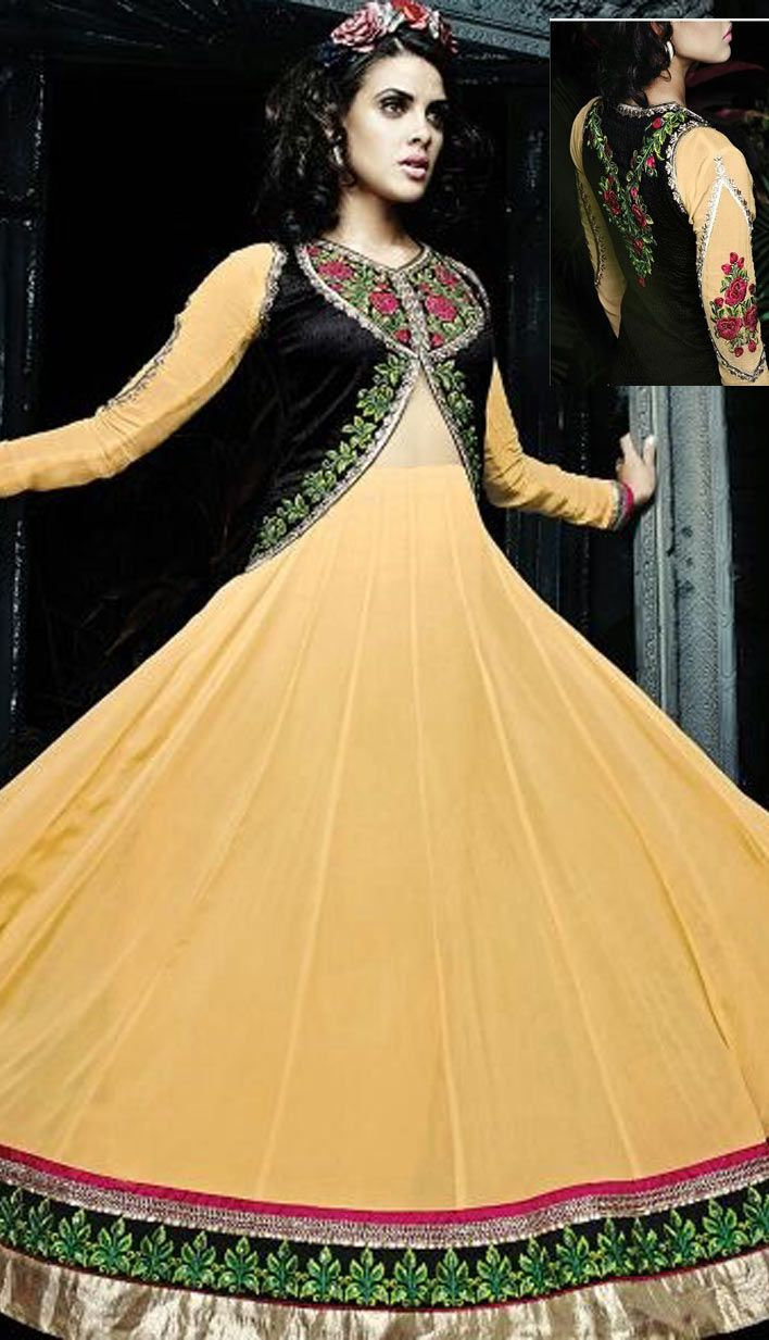 Beautiful Latest Yellow Georgette Anarkali Suit, Dress