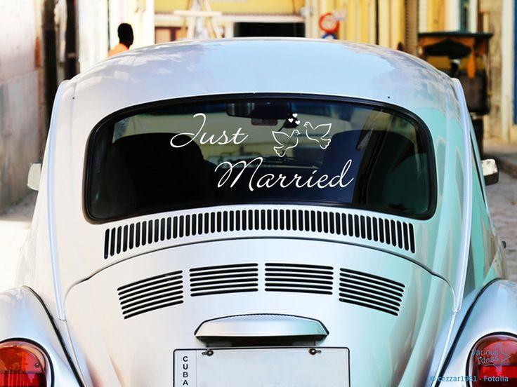 Autoaufkleber - Heckscheibenaufkleber Just Married! - ein Designerstück von Various-Ideas bei DaWanda