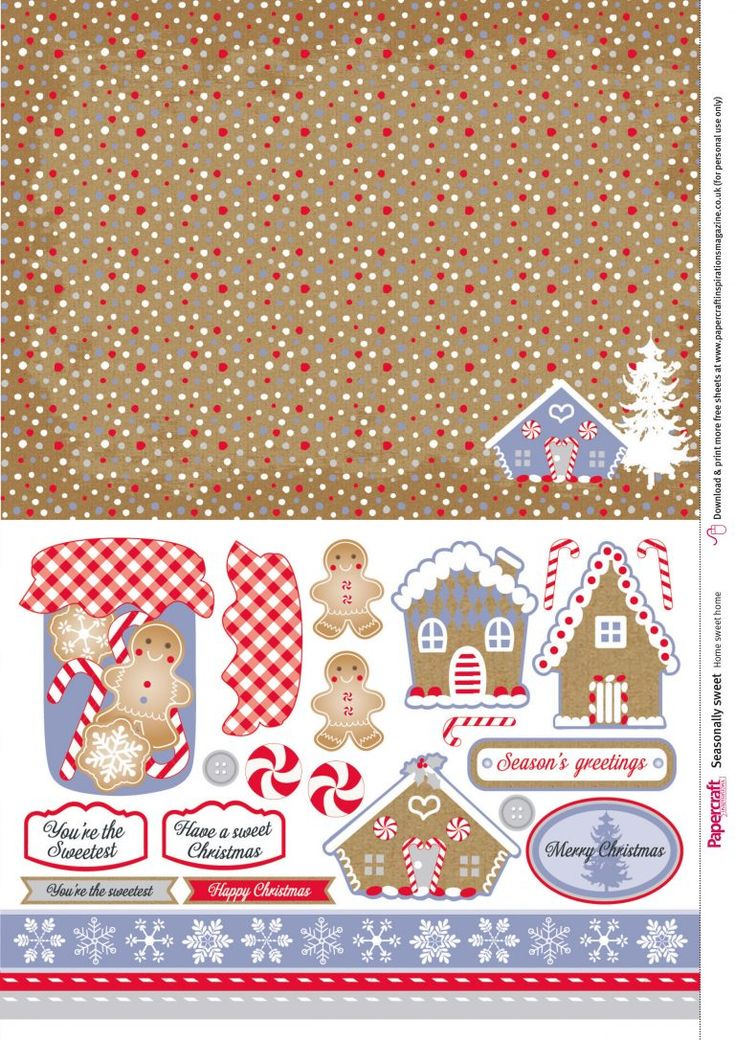 Download these mouth-watering FREE gingerbread printables for your card making and papercraft projects. Great for Christmas crafting and more!