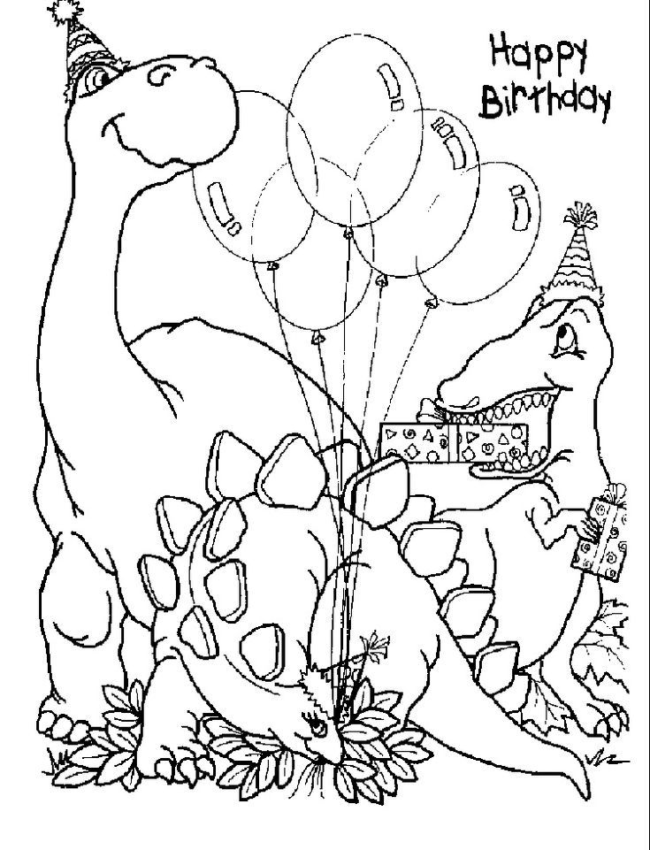 Happy Birthday Dinosaur Coloring Pages