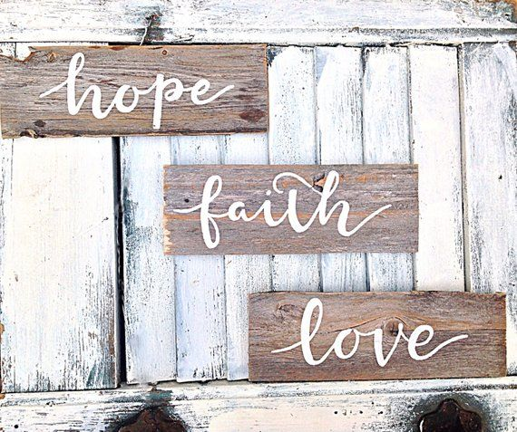 Inspirational Wall Art Set Of 3 Signs Hope Faith Love Wall Art And Decor Motivational Decor Signs With Quo Inspirational Wall Art Love Wall Art Wooden Signs