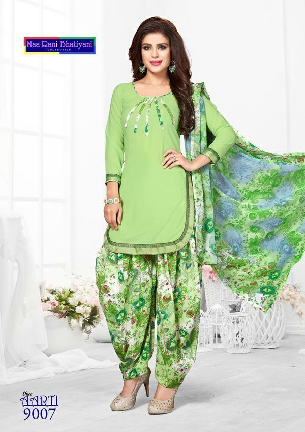 Crepe Salwar Kameez Unstitched Punjabi Suit Indian Pakistan Trendy Synthetic