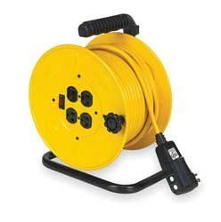 LumaPro 2YKR7 Cord Reel, Manual, 14/3, 80Ft, Yellow by LumaPro. $341.05. Cord Reel, Manual, Gauge/Conductor 14/3, Cord Type SJTW, Cord Length 80 Ft, Color Yellow, Voltage 125, Max Amps 10, 1250 Watts, Temp Range 20 to 221 F, NEMA Connector (4) 5-15R, NEMA Plug Configuration 5-15P, Description/Special Features Circuit Breaker/GFCI, Height 14.50 In, Width 10.50 In, Depth 9.00 In, Standards cULus