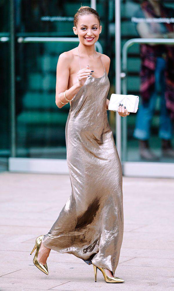 Nicole Richie a Marc Jacobs slip dress, Jennifer Meyer jewelry, Giuseppe Zanotti heels and a Christian Louboutin clutch at the CFDA Fashion Awards 2013
