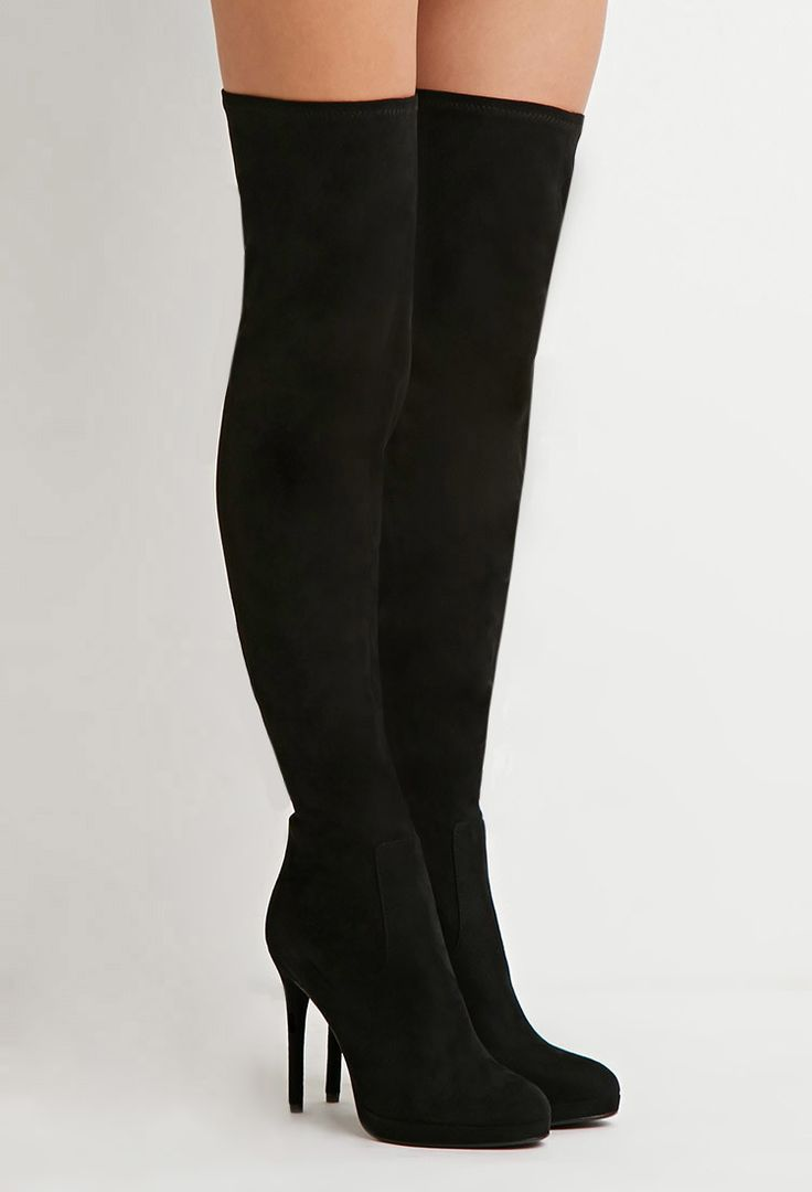 faux suede the knee boots forever 21 2000174754
