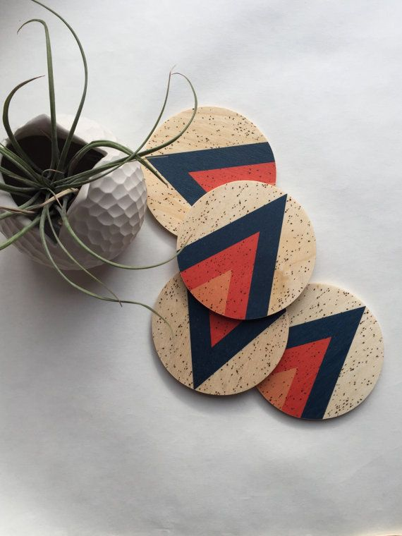 ARROW modern wood coasters, geometric coasters, midcentury modern coasters, mid century, hostess gift