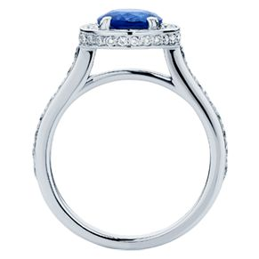 Diamonds set on the top and sides of the halo looks exquisite on the 'Aphrodite' engagement ring!