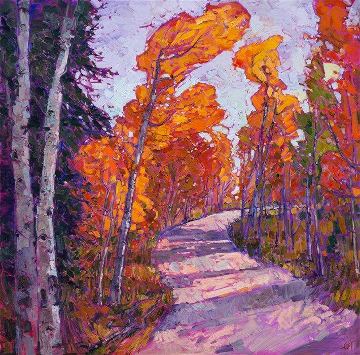 Autumn aspen oil painting for Hanson's The Orange Show in The Erin Hanson Gallery, October 2016.