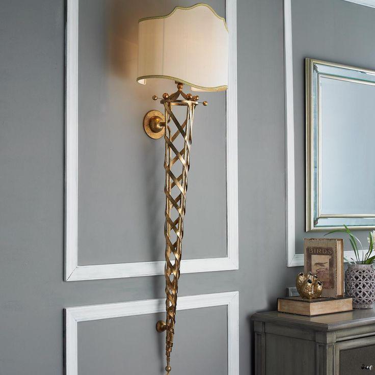 Rubbed Gold Lattice Ribbons Torch Sconce This Shield Shaded Wall With Its Golden Ribbon