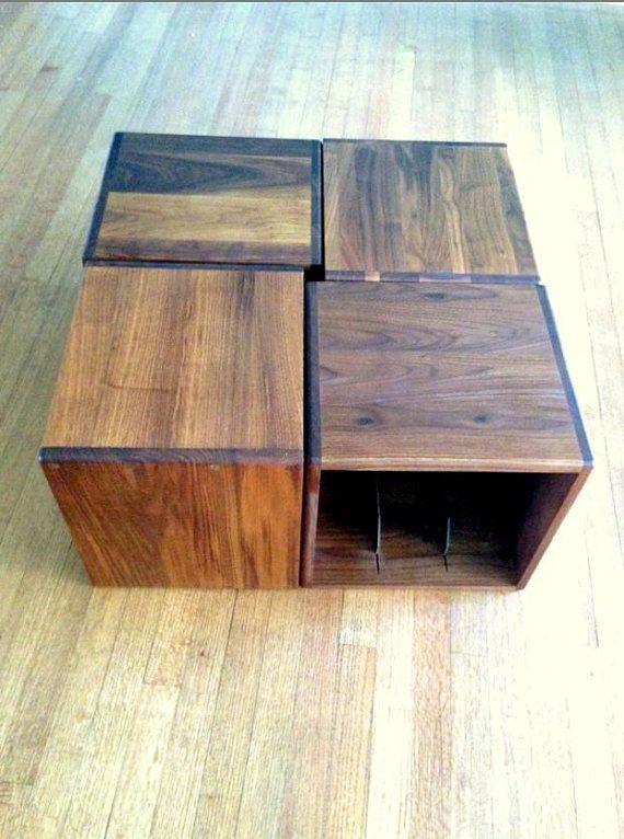 mid century teak lp storage cubes by on etsy