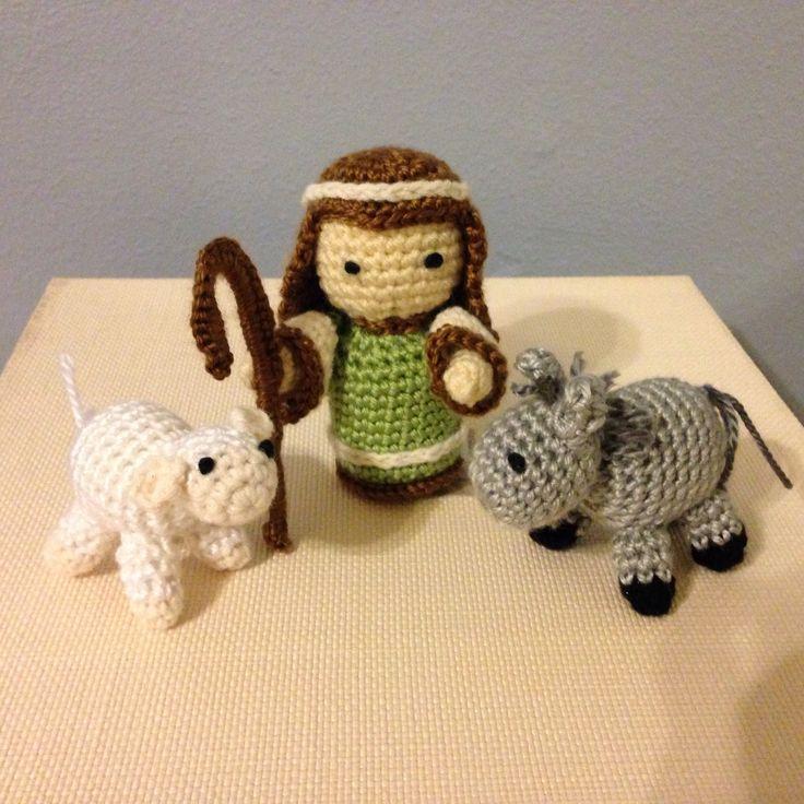 Crochet shepherd and animals. Nativity
