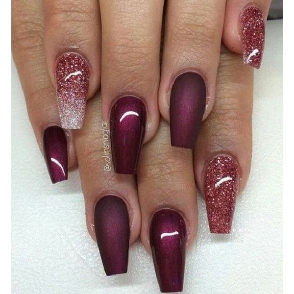 35 Maroon Nails Designs ❤ liked on Polyvore featuring beauty products and nail care