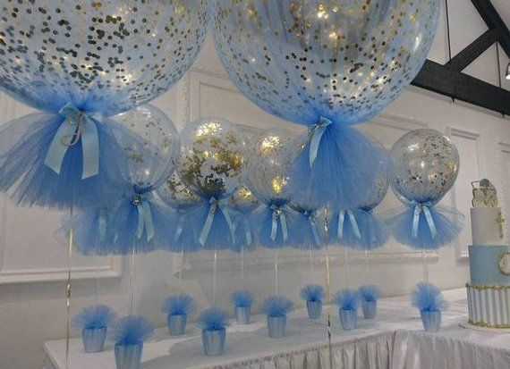 Confetti Balloons Tulle Birthday Balloons Kit Set Of 3 Baptism Decorations Boy Baby Shower Decorations Boy Baptism Centerpieces