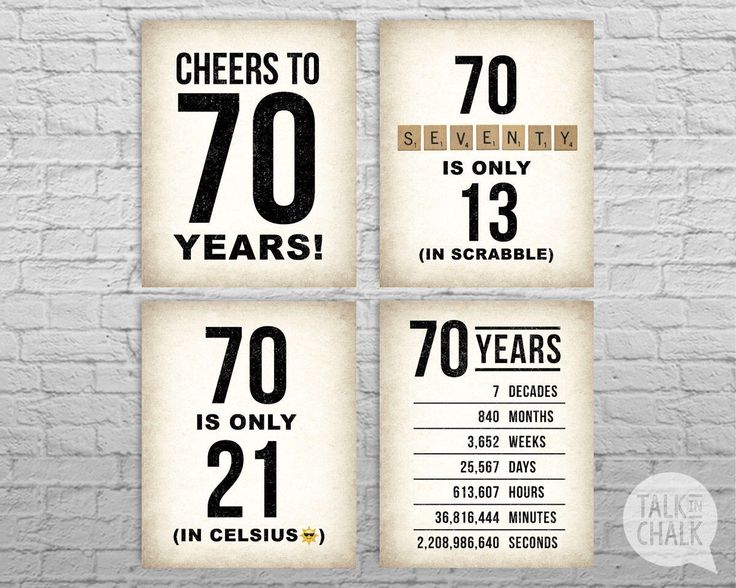 70th Birthday PRINTABLE Sign Pack, 70th Birthday DIGITAL Posters, Cheers to 70 Years Sign, 70th Birthday Decorations, Instant Download by TalkInChalk on Etsy https://www.etsy.com/listing/501905020/70th-birthday-printable-sign-pack-70th