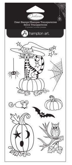 HAMPTON ART OUTLINES Clear Stamp Set HALLOWEEN CRITTERS Cats Spider Pumpkin Bat  | eBay