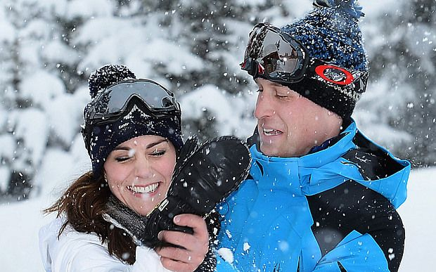 They may be husband and wife, but when it comes to a snowball fight there    is no love lost between the Duke and Duchess of Cambridge. William and Kate    found themselves battling in the snowy setting of the French Alps when they    took their children Prince George and Princess Charlotte on a short skiing    break.