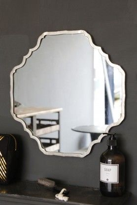 Scalloped Edge Mirror With Metal Frame