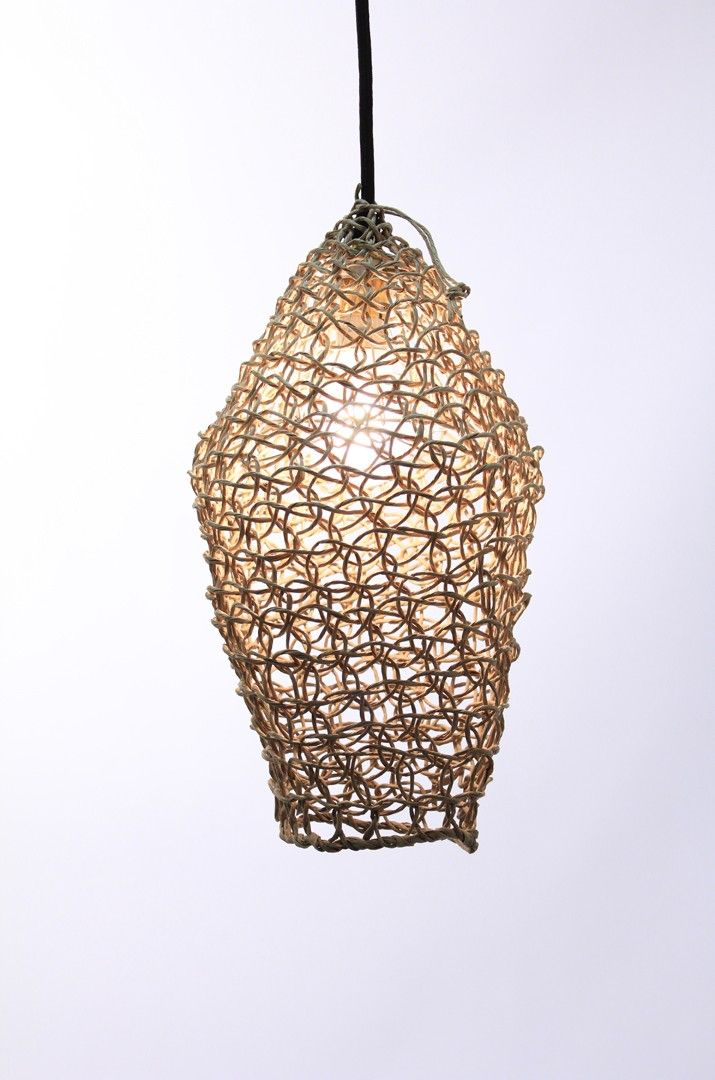 OPEN WEAVE RECYCLED PAPER PENDANT LIGHT DROP SMALL NATURAL H30 L400 D250