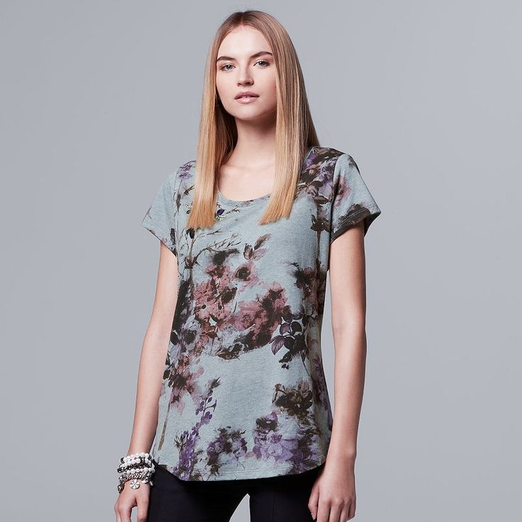 Women's Simply Vera Vera Wang Embellished Floral Tee, White