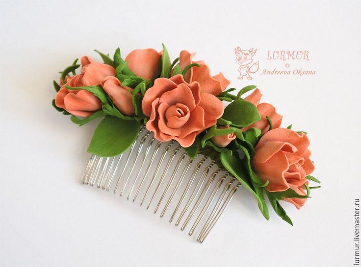 """Купить Гребень """"Коралловые розы"""" Украшение для волос из фоамирана - коралловый, заколка, заколка для волос"""
