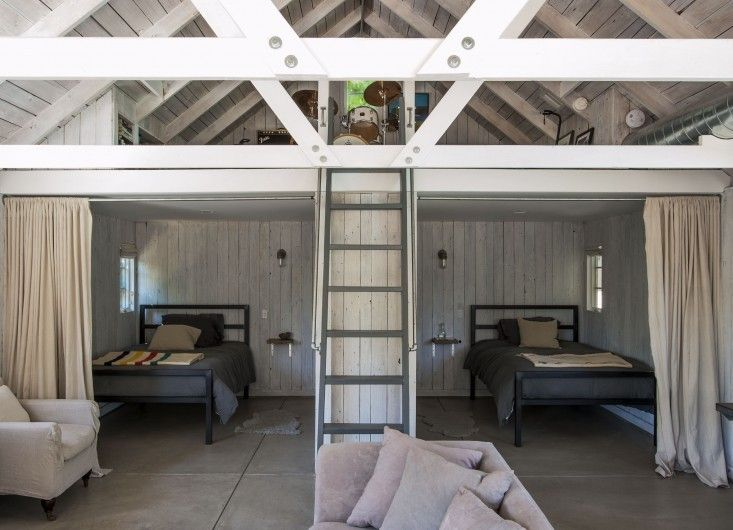 Amanda Pays and Corbin Bernsen opted for a polished concrete floor when they transformed a workshop/shed into a bunkhouse for visiting child...