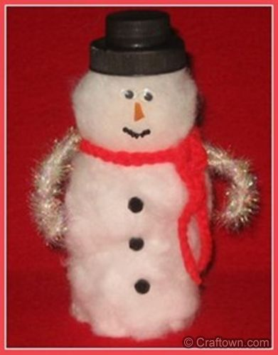empty medicine bottle crafts | Recycled Snowman - Christmas Craft Ideas - Christmas Crafts