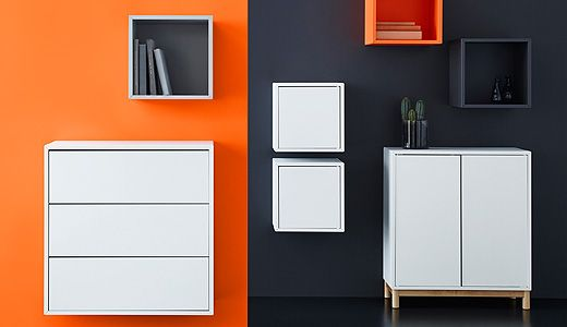 EKET: A flexible storage container series with big and small storage modules in bright and basic colors. Open and closed storage can be stacked, hung and combined endlessly.