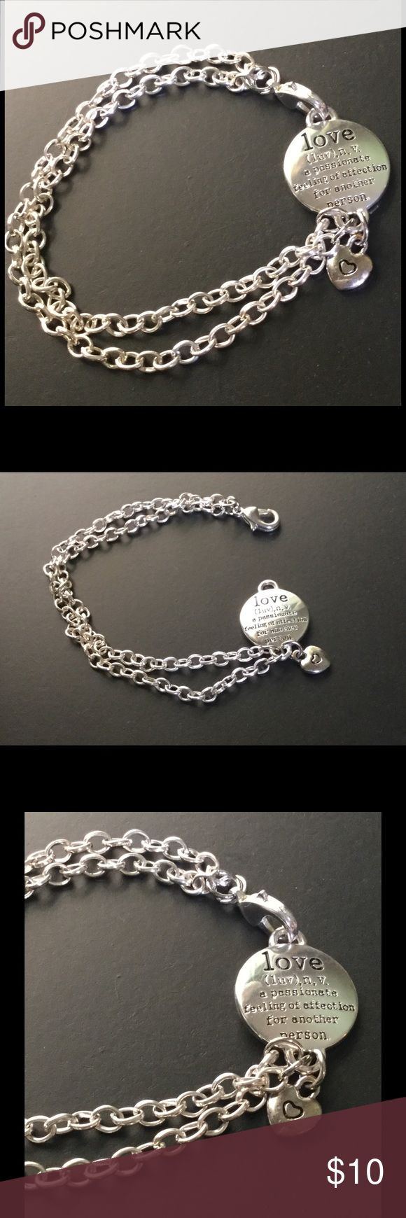 Bracelet with Love charm The meaning of Love charm makes this bracelet special...double row silver filled bracelet with small a small heart charm attached. handmade Jewelry Bracelets