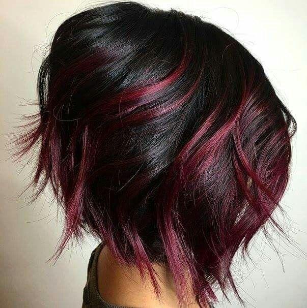 Best 25 black hair red highlights ideas on pinterest red black black hair with cherry highlights on a razored bob pmusecretfo Images