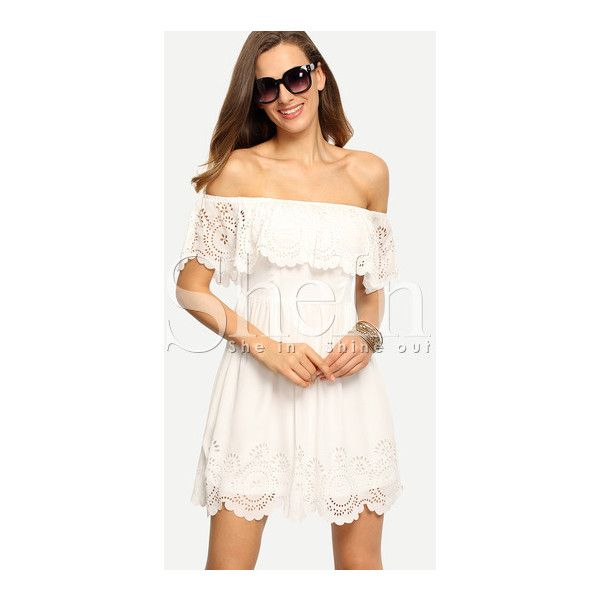 SheIn(sheinside) Beige Off The Shoulder Ruffle Hollow Dress (2870 RSD) ❤ liked on Polyvore featuring dresses, beige, short sleeve dress, off shoulder ruffle dress, ruffled dresses, beach dresses and short beach dresses